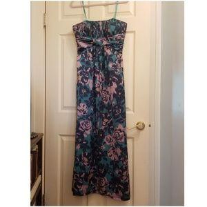 BCBGParis strapless floral silky maxi dressPOCKETS